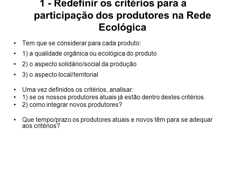 1 - Redefinir os critérios para a participação dos produtores na Rede Ecológica