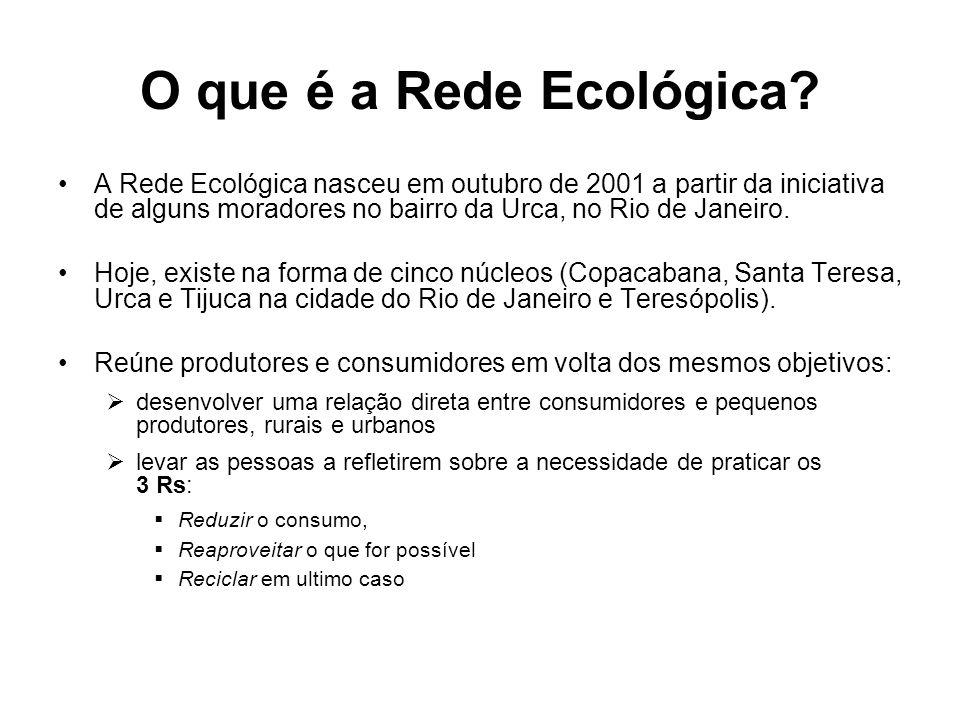O que é a Rede Ecológica A Rede Ecológica nasceu em outubro de 2001 a partir da iniciativa de alguns moradores no bairro da Urca, no Rio de Janeiro.