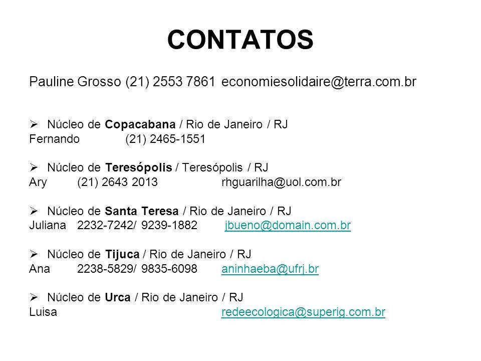CONTATOS Pauline Grosso (21) 2553 7861 economiesolidaire@terra.com.br