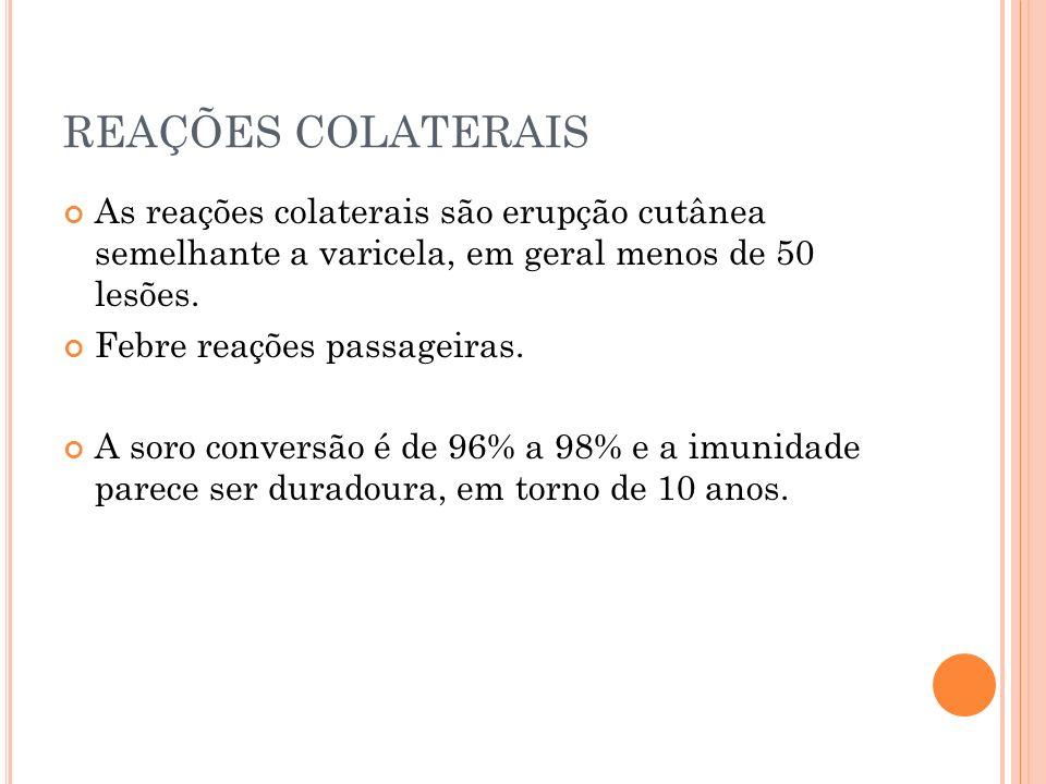 REAÇÕES COLATERAIS As reações colaterais são erupção cutânea semelhante a varicela, em geral menos de 50 lesões.