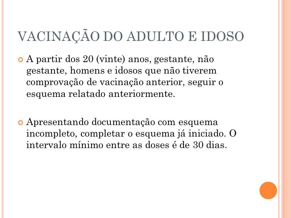 VACINAÇÃO DO ADULTO E IDOSO