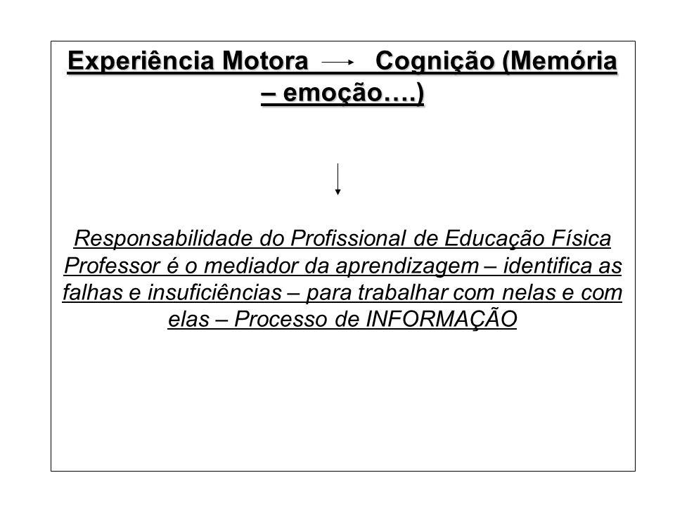 Experiência Motora Cognição (Memória – emoção….)