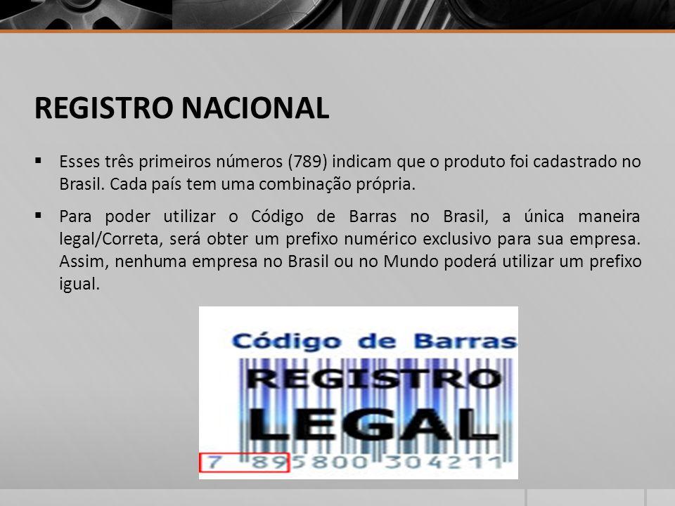 REGISTRO NACIONAL Esses três primeiros números (789) indicam que o produto foi cadastrado no Brasil. Cada país tem uma combinação própria.