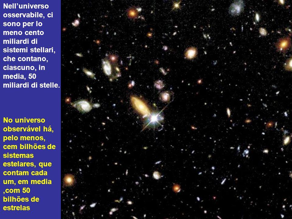 Nell'universo osservabile, ci sono per lo meno cento miliardi di sistemi stellari, che contano, ciascuno, in media, 50 miliardi di stelle.