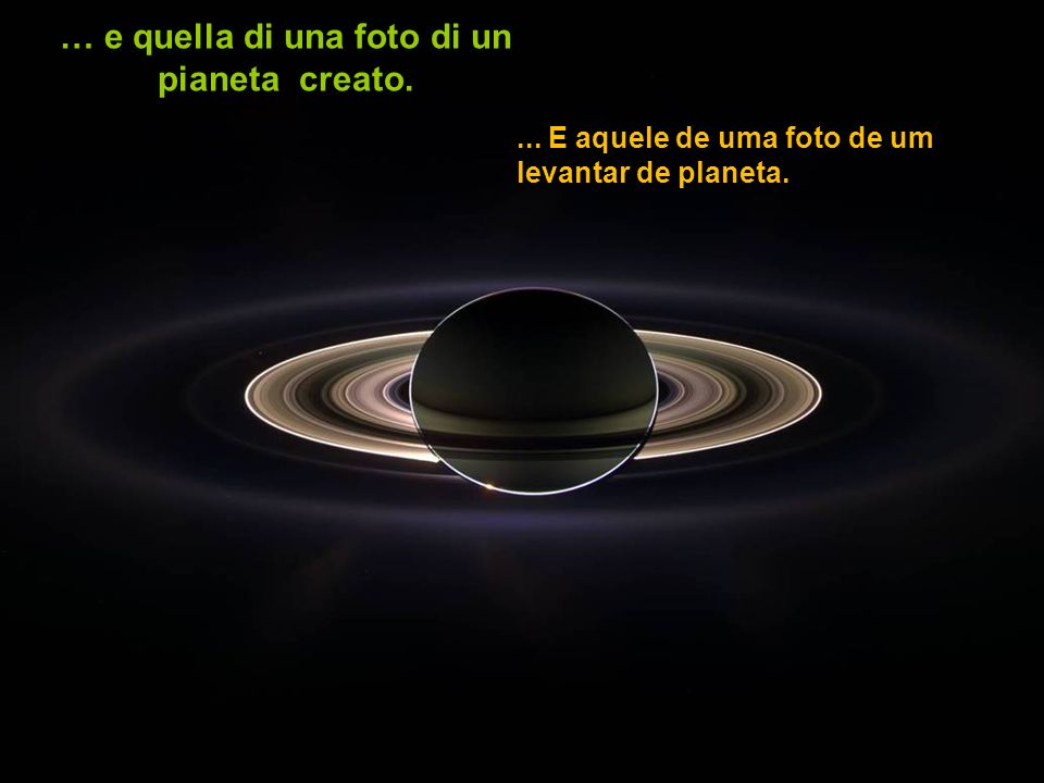 … e quella di una foto di un pianeta creato.