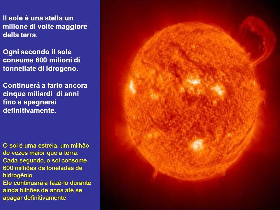 Il sole é una stella un milione di volte maggiore della terra.