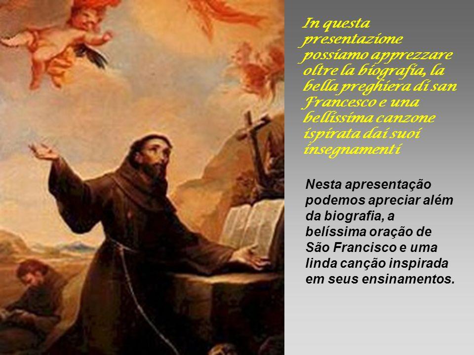 In questa presentazione possiamo apprezzare oltre la biografia, la bella preghiera di san Francesco e una bellissima canzone ispirata dai suoi insegnamenti