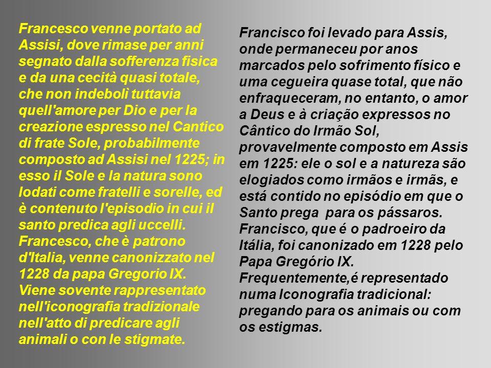 Francesco venne portato ad Assisi, dove rimase per anni segnato dalla sofferenza fisica e da una cecità quasi totale, che non indebolì tuttavia quell amore per Dio e per la creazione espresso nel Cantico di frate Sole, probabilmente composto ad Assisi nel 1225; in esso il Sole e la natura sono lodati come fratelli e sorelle, ed è contenuto l episodio in cui il santo predica agli uccelli. Francesco, che è patrono d Italia, venne canonizzato nel 1228 da papa Gregorio IX. Viene sovente rappresentato nell iconografia tradizionale nell atto di predicare agli animali o con le stigmate.