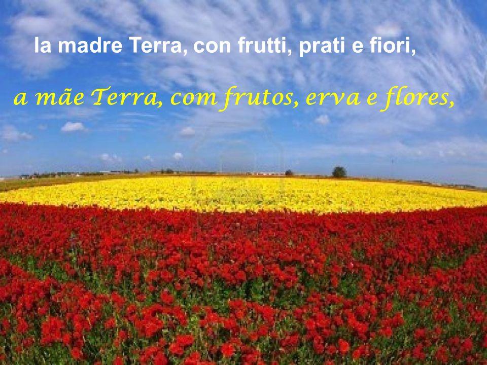 la madre Terra, con frutti, prati e fiori,