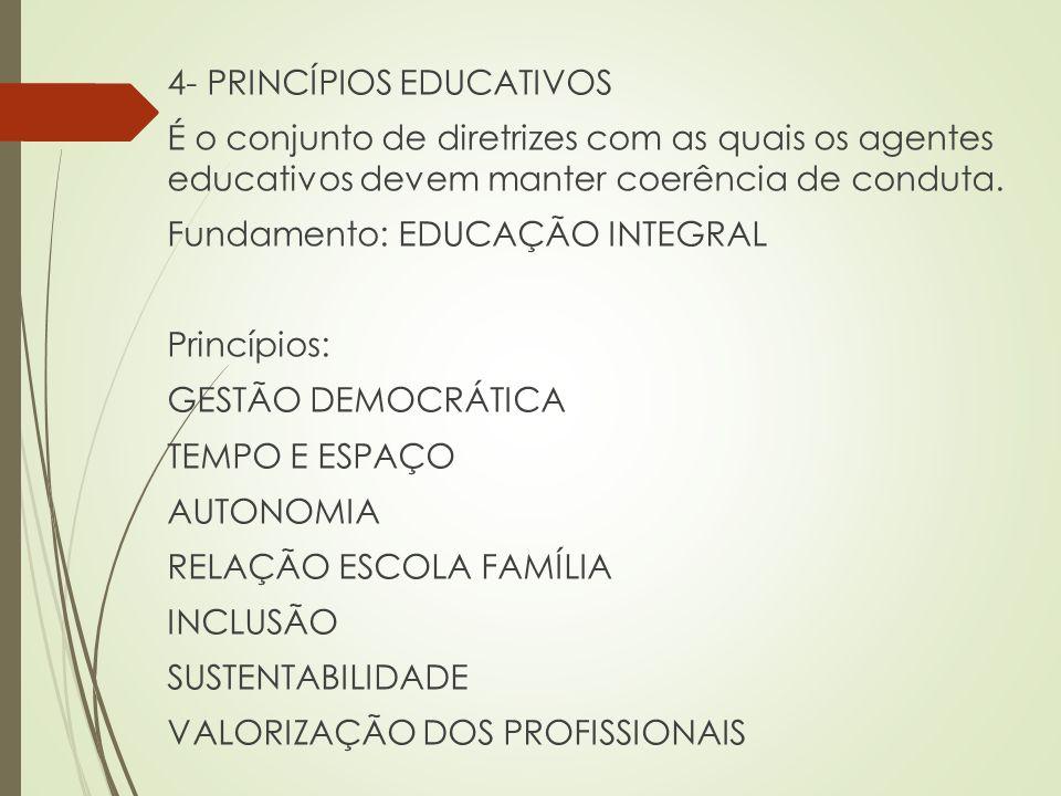 4- PRINCÍPIOS EDUCATIVOS É o conjunto de diretrizes com as quais os agentes educativos devem manter coerência de conduta.