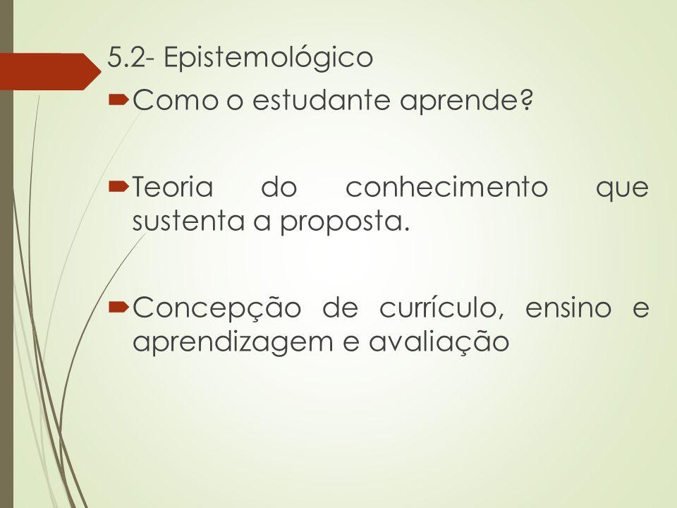 5.2- Epistemológico Como o estudante aprende Teoria do conhecimento que sustenta a proposta.