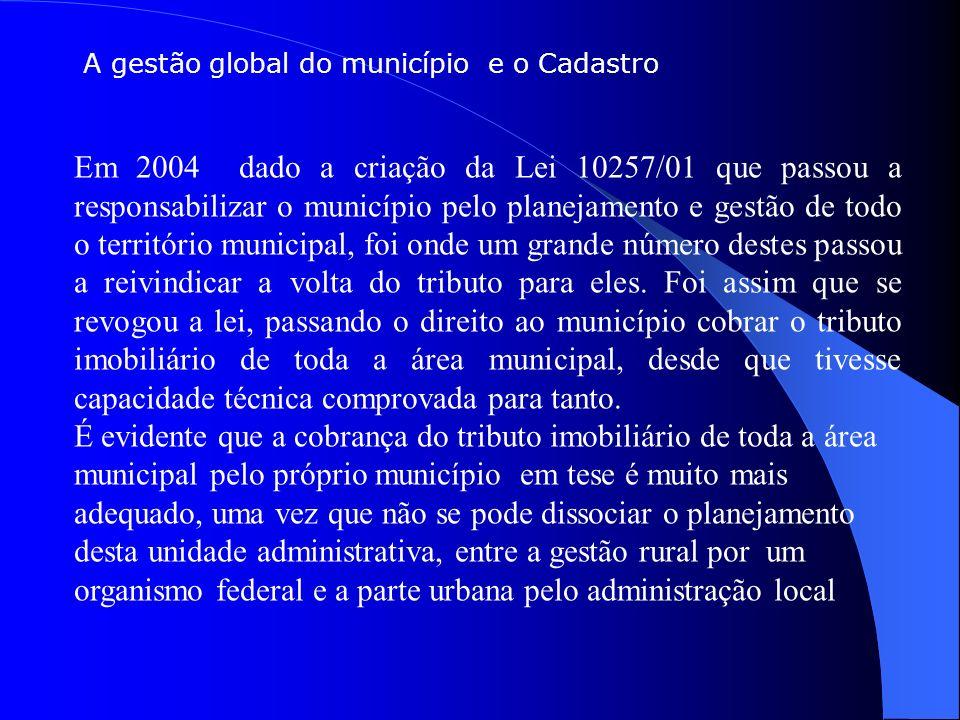 A gestão global do município e o Cadastro