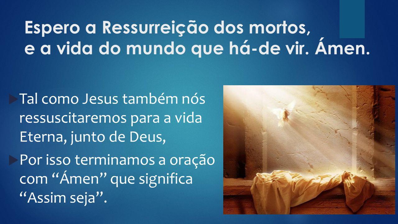 Espero a Ressurreição dos mortos, e a vida do mundo que há-de vir. Ámen.