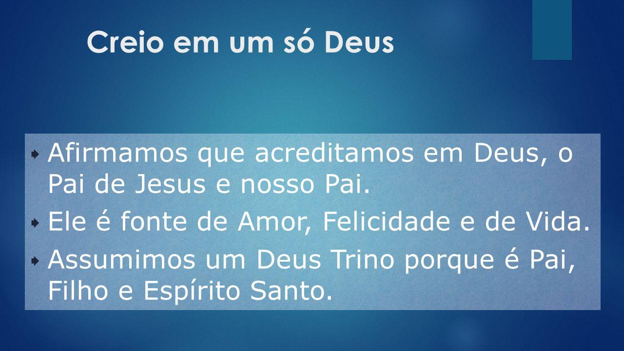 Creio em um só Deus Afirmamos que acreditamos em Deus, o Pai de Jesus e nosso Pai. Ele é fonte de Amor, Felicidade e de Vida.