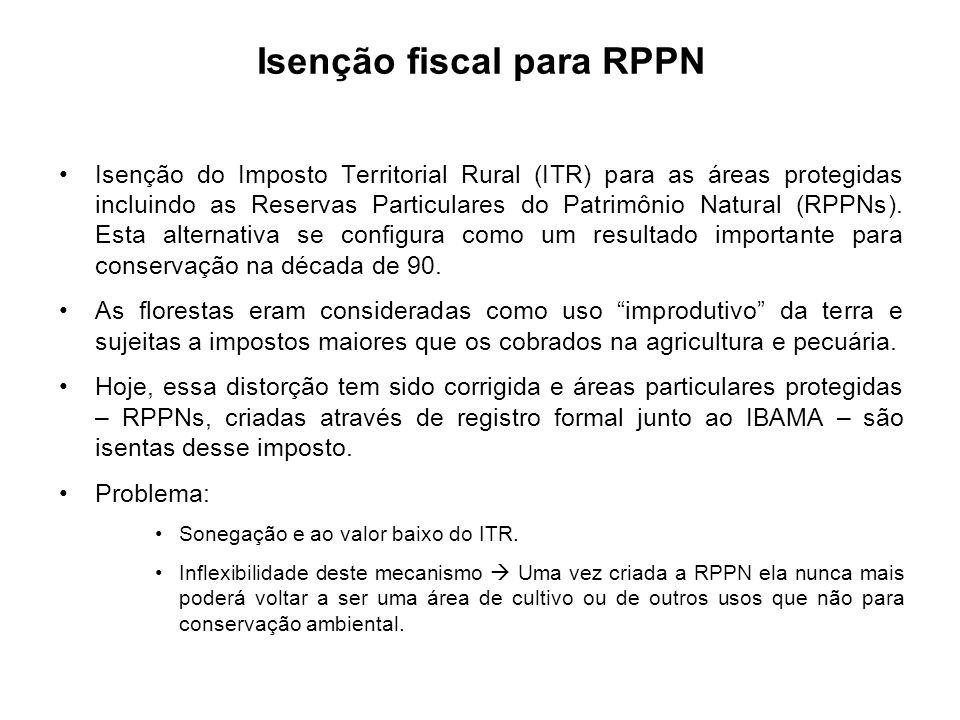 Isenção fiscal para RPPN