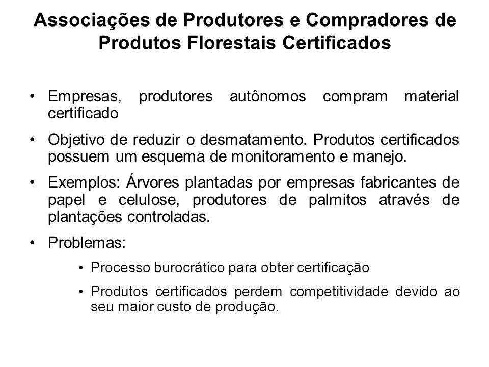 Associações de Produtores e Compradores de Produtos Florestais Certificados
