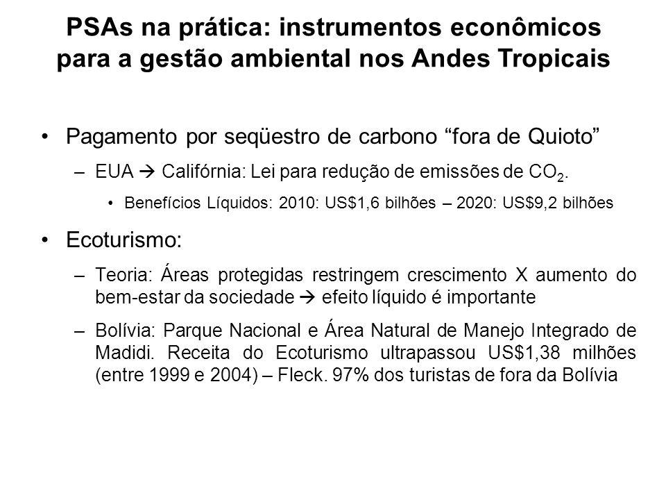 PSAs na prática: instrumentos econômicos para a gestão ambiental nos Andes Tropicais