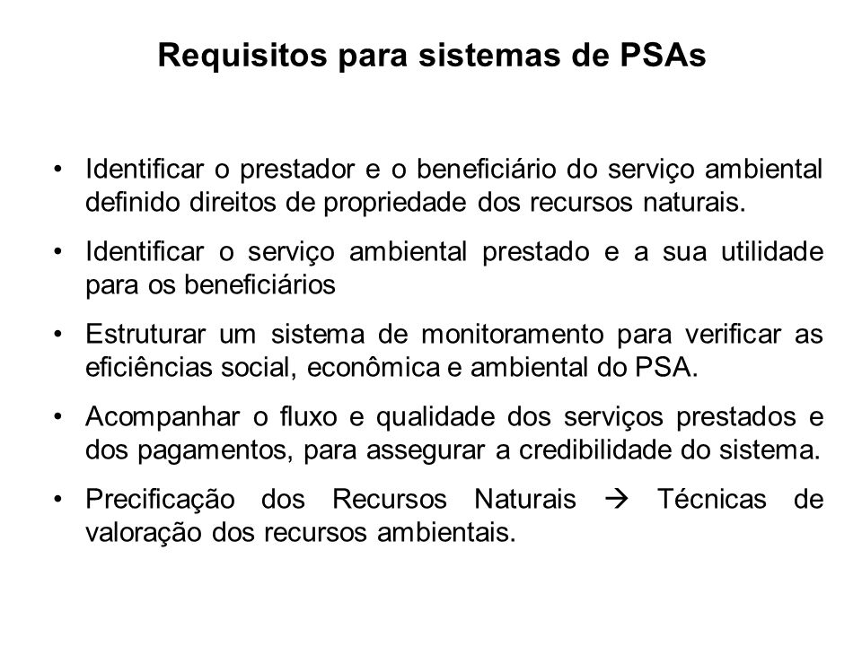 Requisitos para sistemas de PSAs
