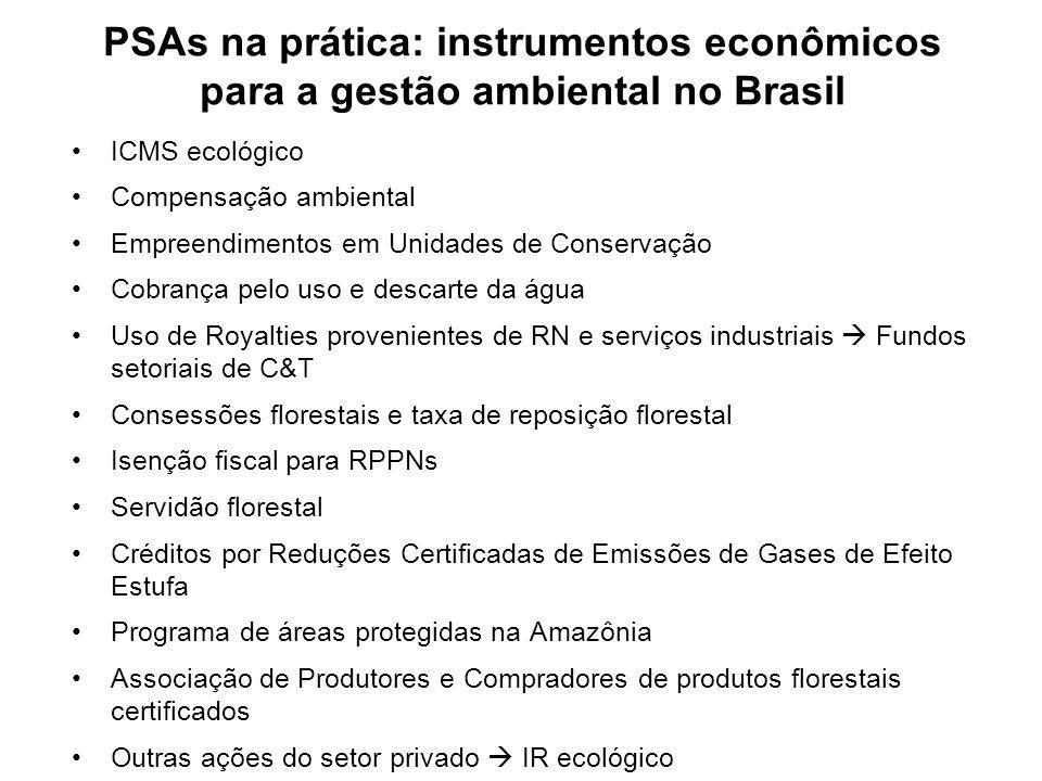PSAs na prática: instrumentos econômicos para a gestão ambiental no Brasil