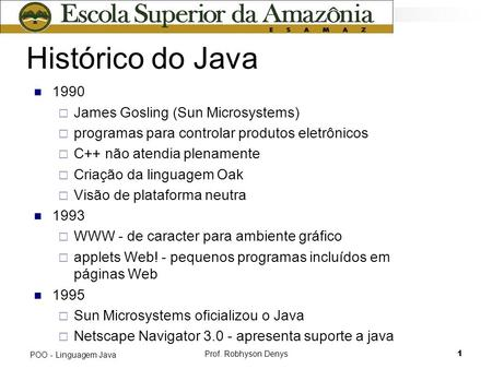 Histórico do Java 1990 James Gosling (Sun Microsystems)