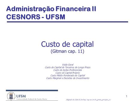 Custo de capital (Gitman cap. 11)