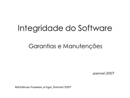 Integridade do Software