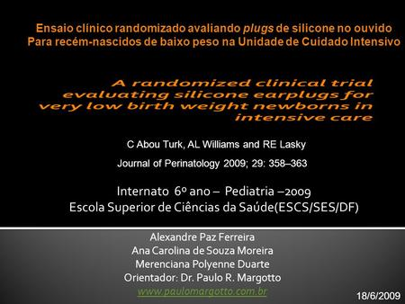 Internato 6º ano – Pediatria –2009