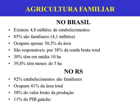 AGRICULTURA FAMILIAR AGRICULTURA FAMILIAR NO BRASIL NO RS