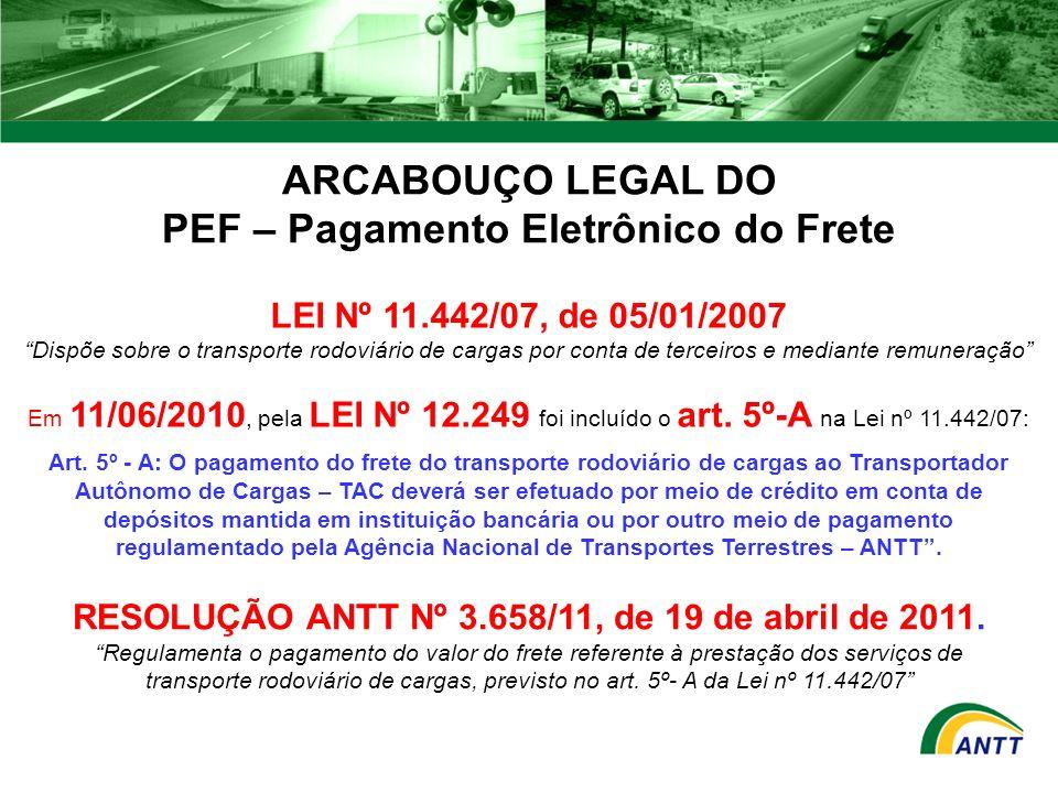 aa72228ce6 ARCABOUÇO LEGAL DO PEF – Pagamento Eletrônico do Frete