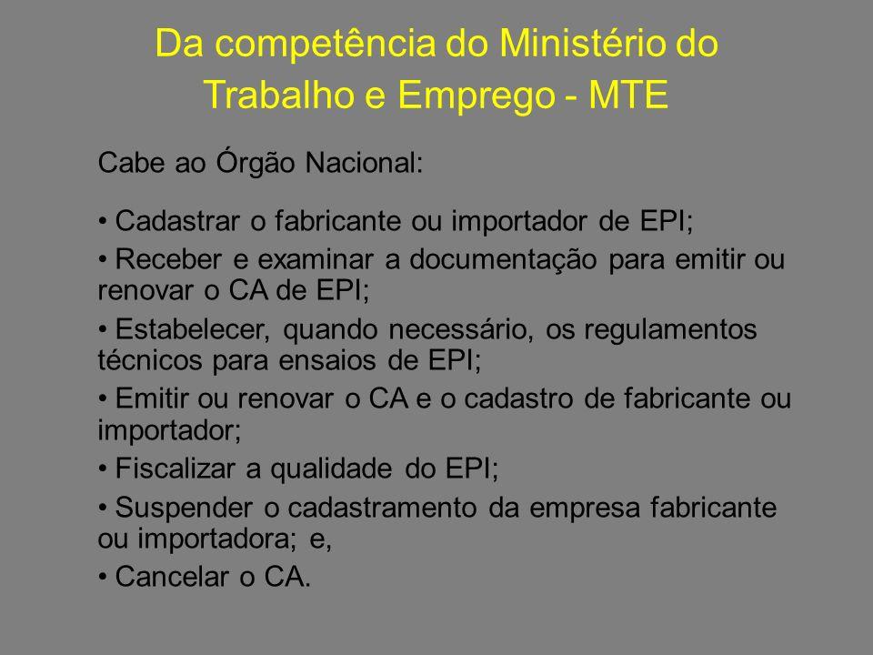 Da competência do Ministério do Trabalho e Emprego - MTE f620e38e97