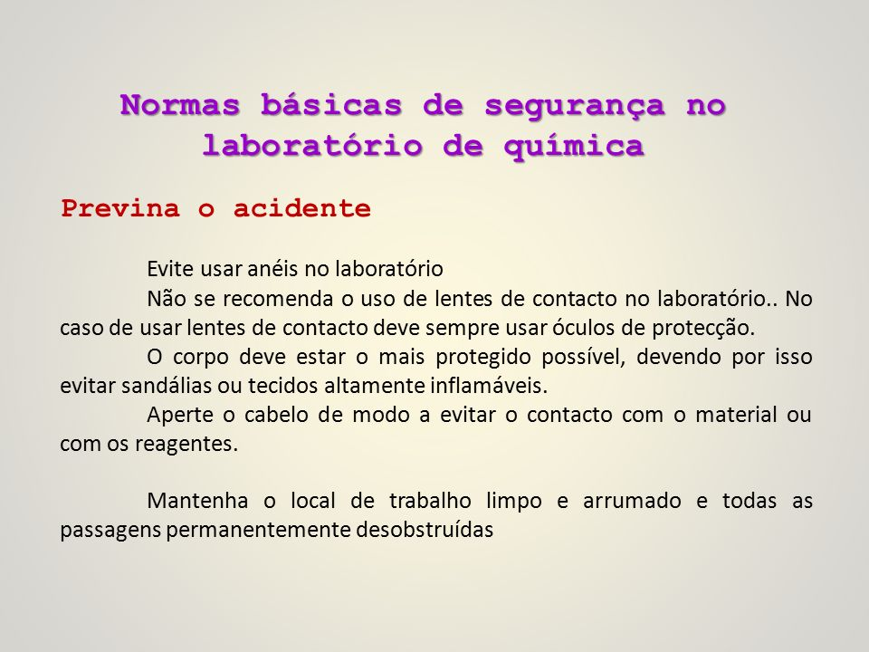 8c7b13ada1475 Tópico 9  Normas básicas de segurança no laboratório de química ...