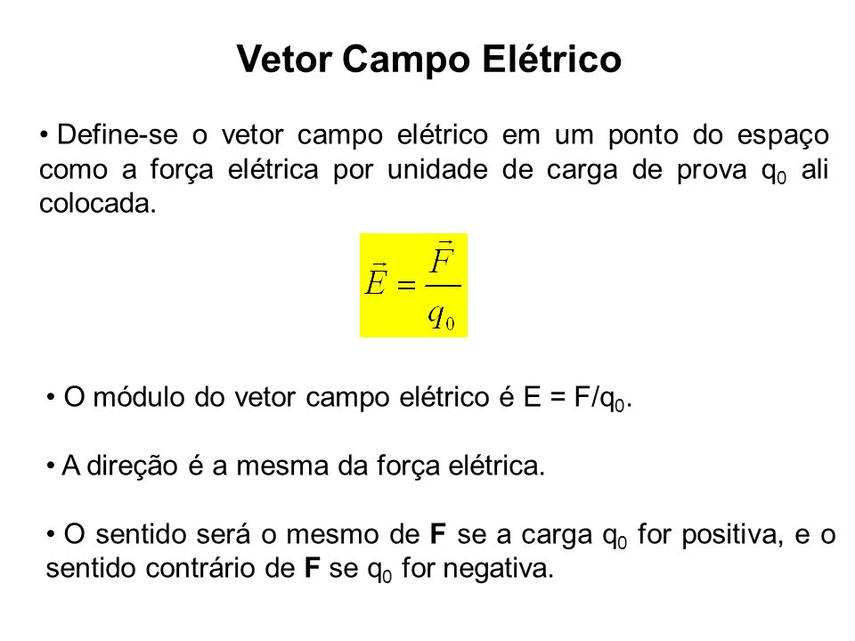 94c6418f8ee Vetor Campo Elétrico Define-se o vetor campo elétrico em um ponto do espaço  como