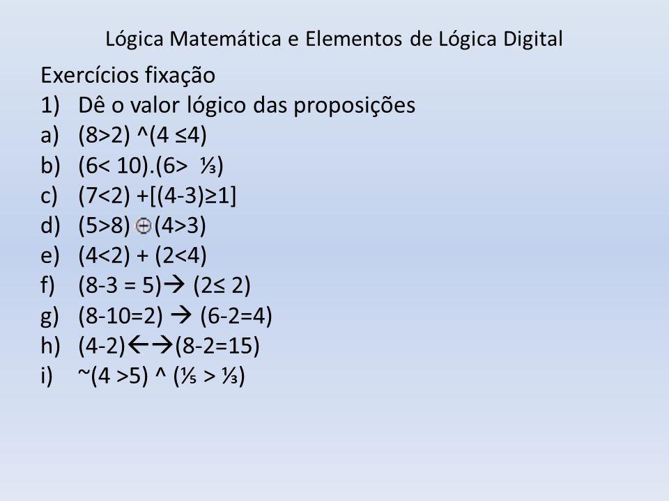 Lógica Matemática E Elementos De Lógica Digital Ppt Carregar
