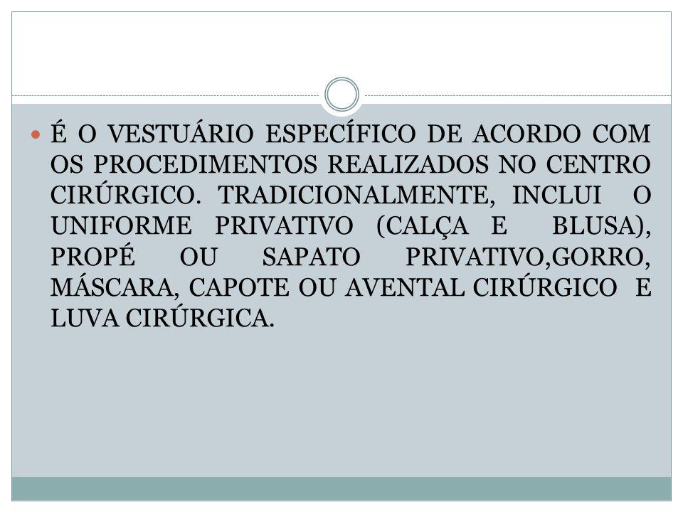 bd899ee96ae5c É O VESTUÁRIO ESPECÍFICO DE ACORDO COM OS PROCEDIMENTOS REALIZADOS NO  CENTRO CIRÚRGICO.