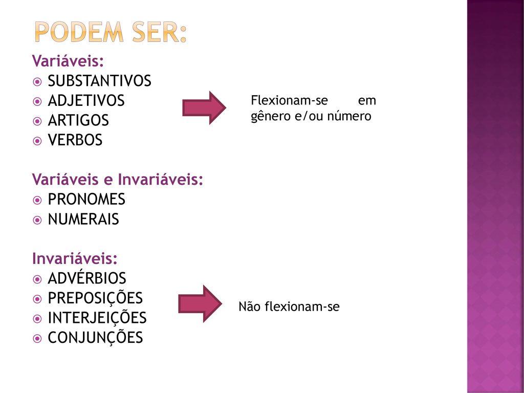 c013af0cb CLASSES DE PALAVRAS = CLASSES GRAMATICAIS. 3 PODEM ...