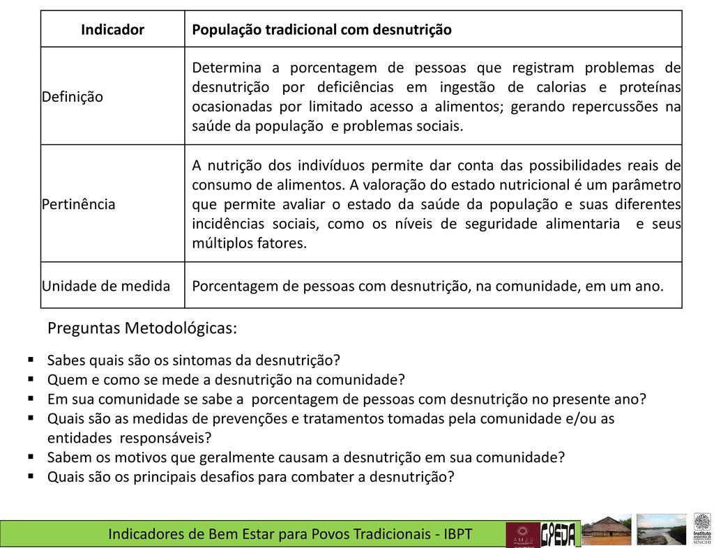 a2e45a1cfe Indicadores de Bem Estar para Povos Tradicionais (IBPT) - ppt carregar