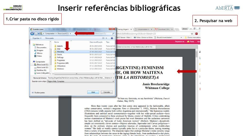 Como colocar referencias pesquisadas na internet