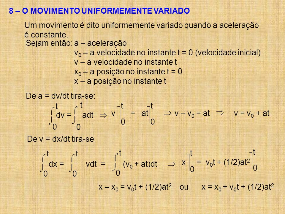 8 – O MOVIMENTO UNIFORMEMENTE VARIADO