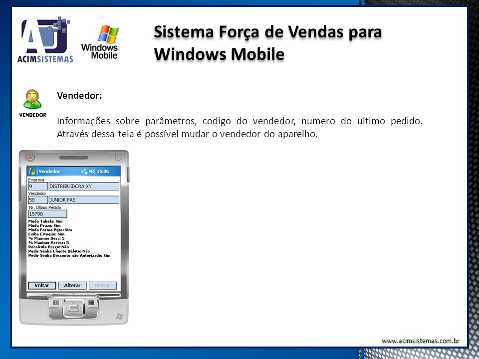 Sistema Força de Vendas para Windows Mobile