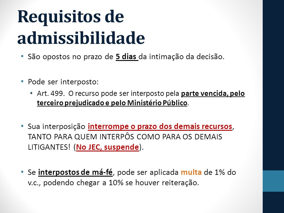 Requisitos de admissibilidade