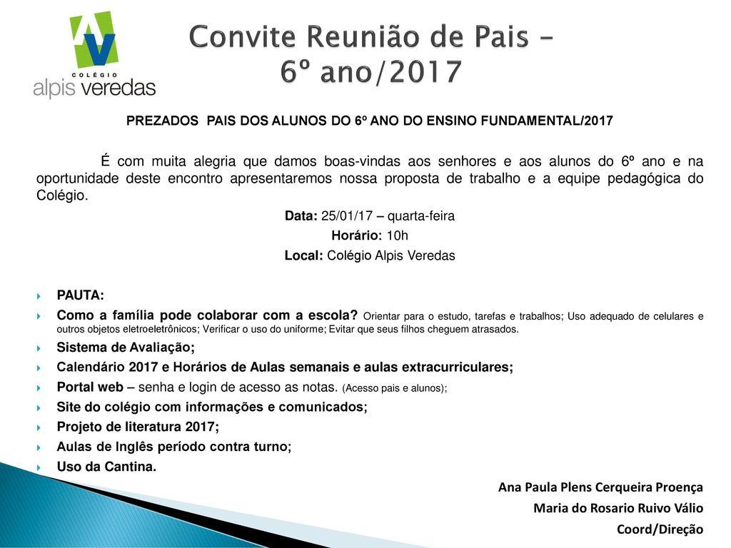 Convite Reunião De Pais 6º Ano Ppt Carregar