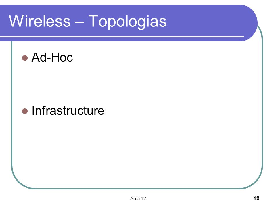Wireless – Topologias Ad-Hoc Infrastructure Aula 12