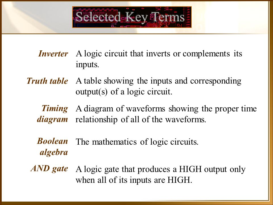 Selected Key Terms Inverter Truth table Timing diagram Boolean algebra