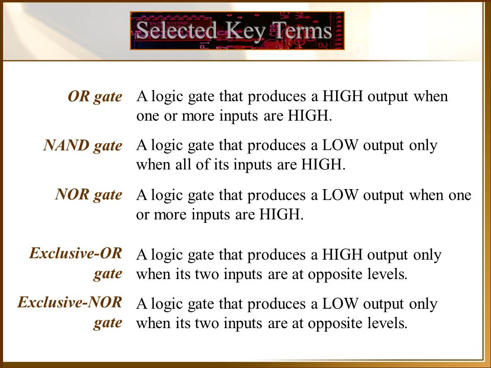 Selected Key Terms OR gate NAND gate NOR gate Exclusive-OR gate