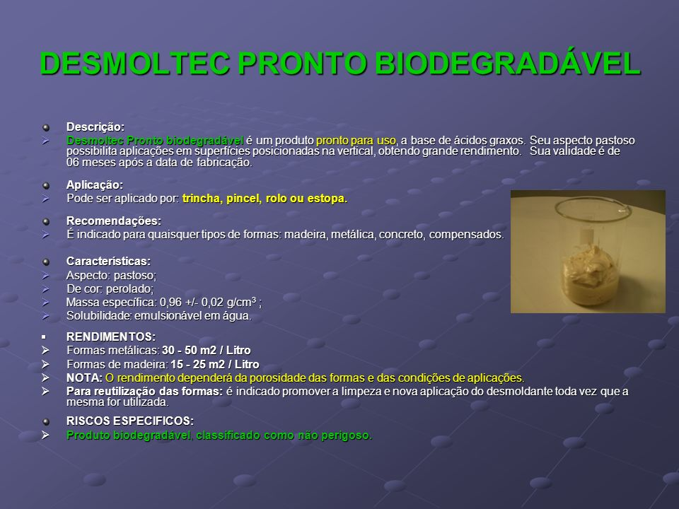 DESMOLTEC PRONTO BIODEGRADÁVEL