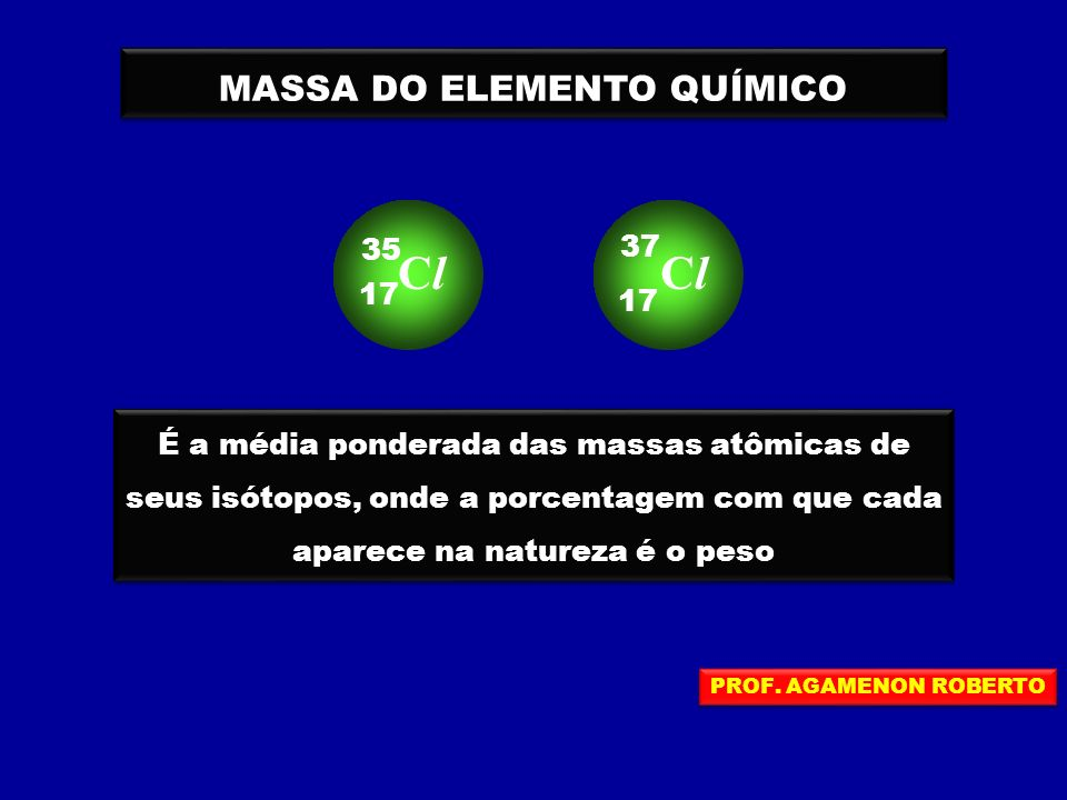 MASSA DO ELEMENTO QUÍMICO