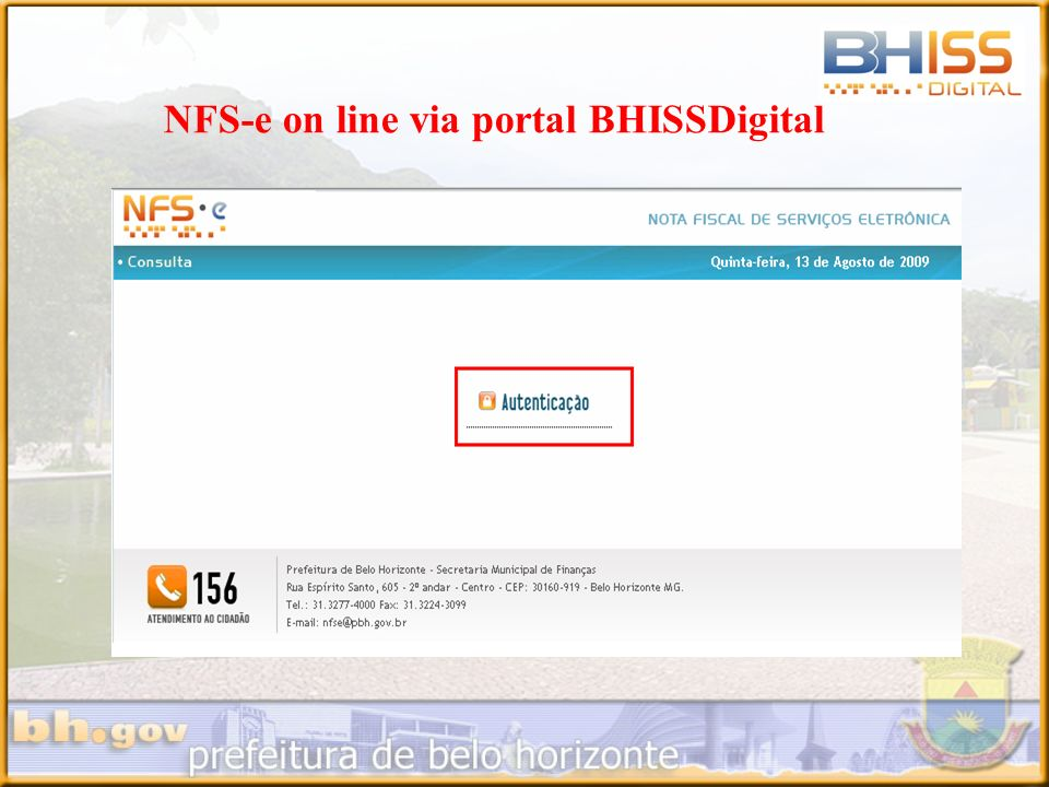 NFS-e on line via portal BHISSDigital
