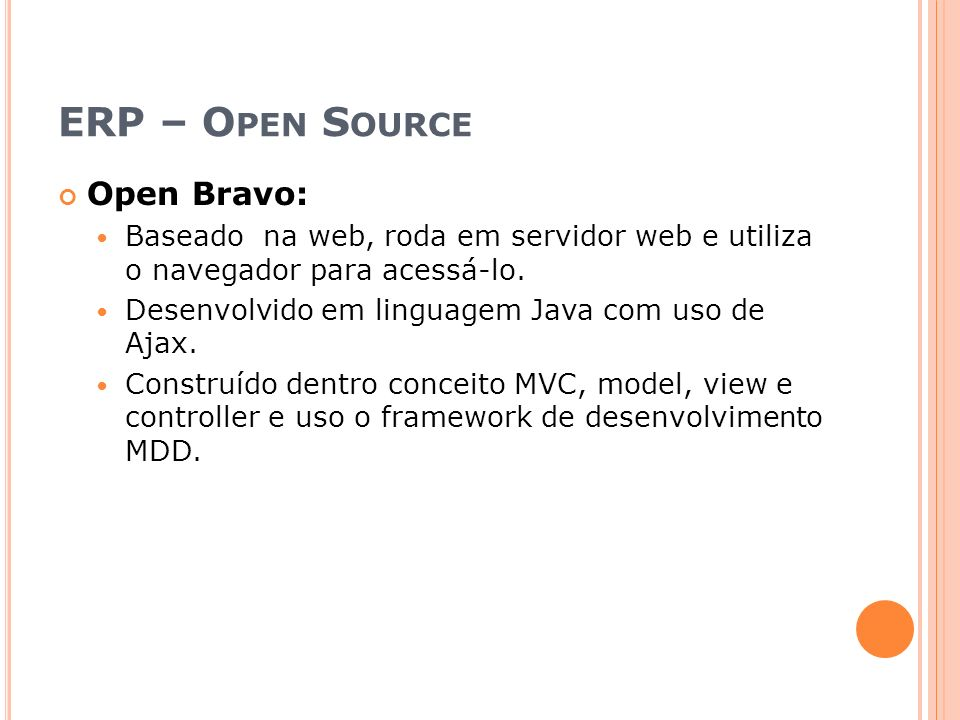 ERP – Open Source Open Bravo: