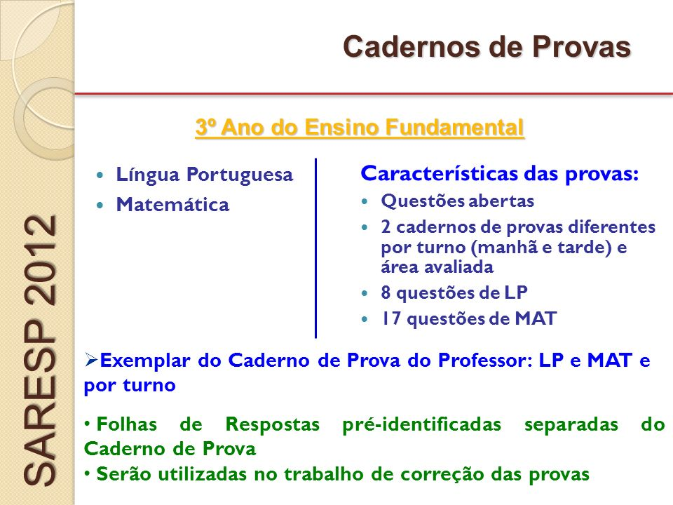 provas do saresp 2012