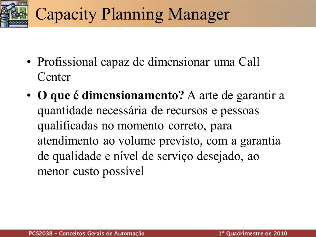 Capacity Planning Manager